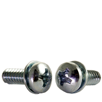MACHINE SCREW, PAN HEAD PHILLIPS, SEMS, ZINC CR+3